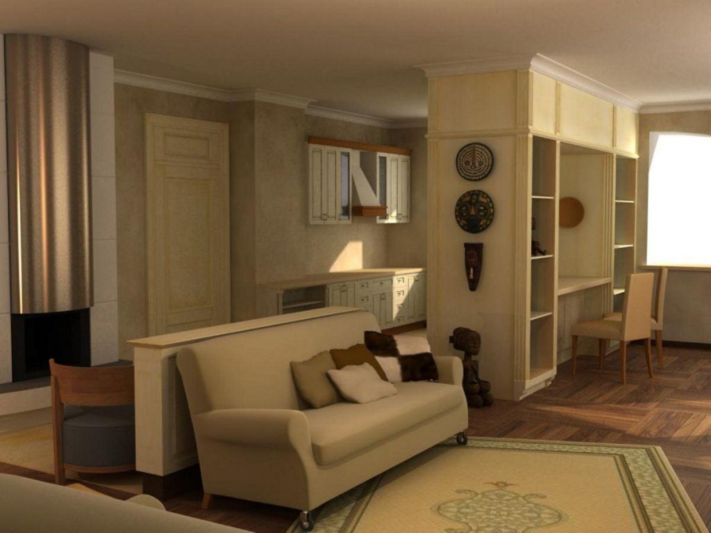 Ремонт гостиной в коттедже